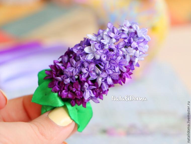 Цветы сирени из лент своими руками