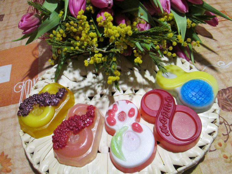 акция, мыло с цветами