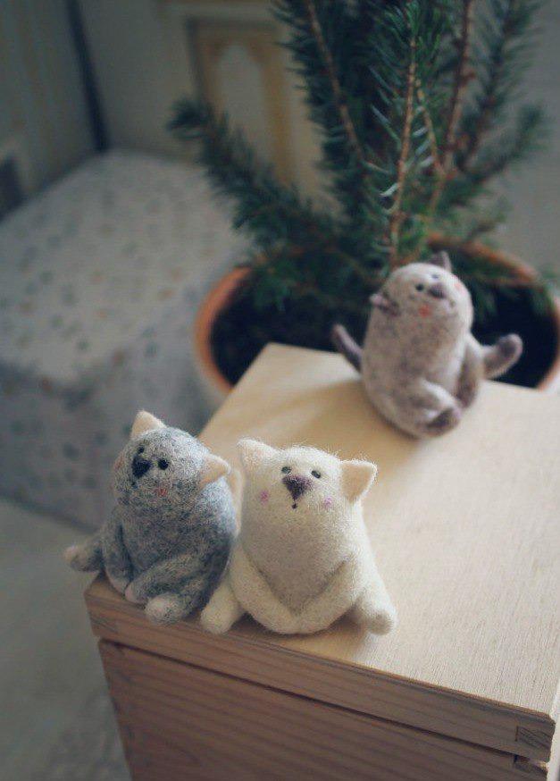 подарок, сухое валяние, котик, валяние игрушки, валяние для новичков, валяние в москве