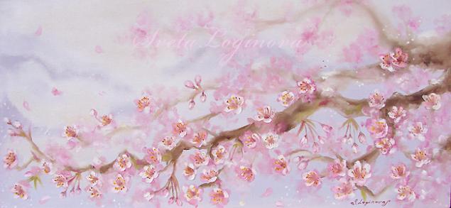 холст, масло, картина, подарок, цветущая вишня, цветение сакуры, украшение интерьера, украшение стен, голубой, жемчужный, розовый, белый