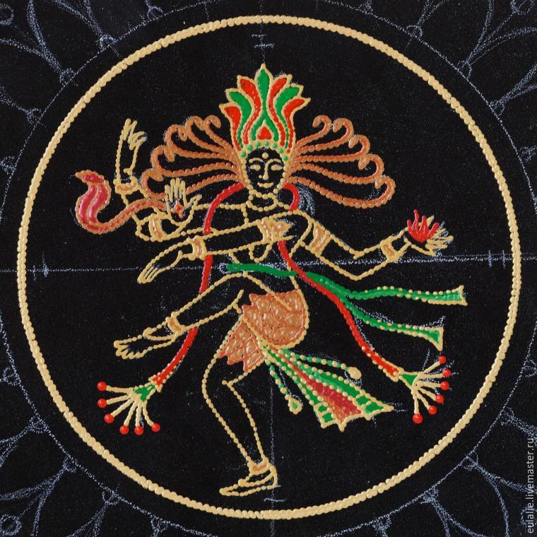 Мастер-класс по точечной росписи: тарелка-панно «танцующий Шива», фото № 8
