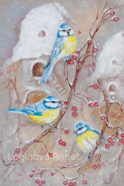 новый год, зимняя картина, снег, счастье, птички, синички