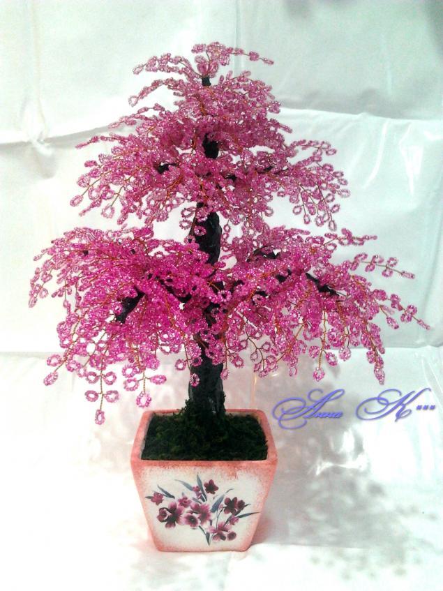 сакура, бисер, бисероплетение, бисерное дерево