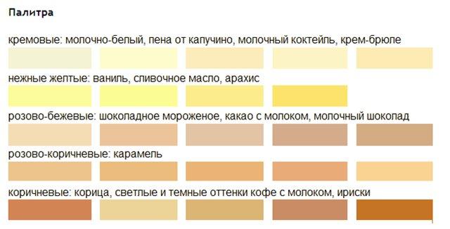 Оттенки кремового цвета