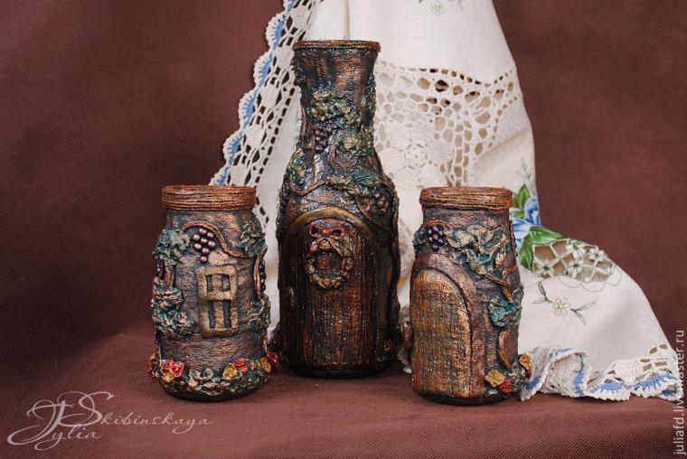 мк, мк по гипсу, гипс, декорирование, ваза, ваза ручной работы
