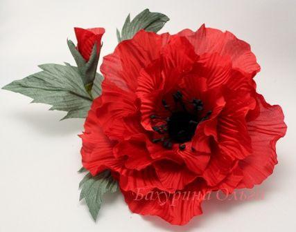 украшения, обучение цветоделию, цветы ручной работы, цветы из шелка, мак