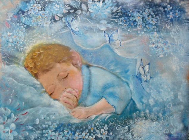 картина, малыш, незабудки, счастье, радость, удача в жизни