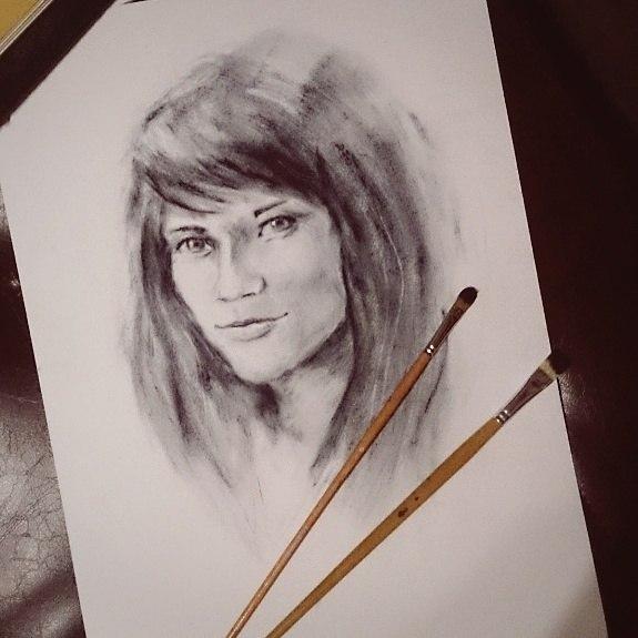 портрет по фото, графика, процесс