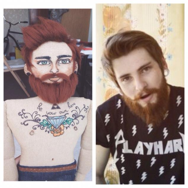 борода, портретная кукла, интерьерная кукла, рокабилли, рок-н-ролл, подарок мужчине, заказ, мужчина, усы