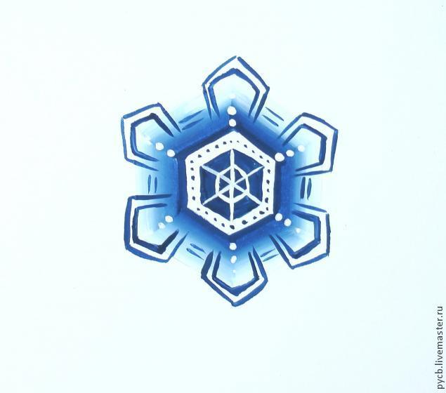 новый год 2014, снежинка, белый, гуашь, темпера, видео