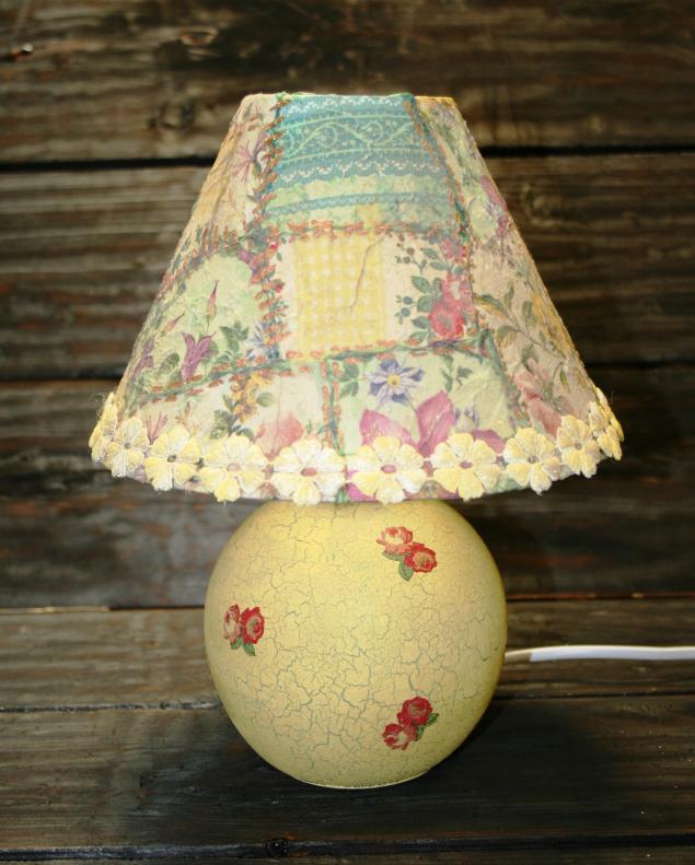 Декупажный пэчворк - имитируем лоскутное шитье! Делаем уникальную лампу!, фото № 3
