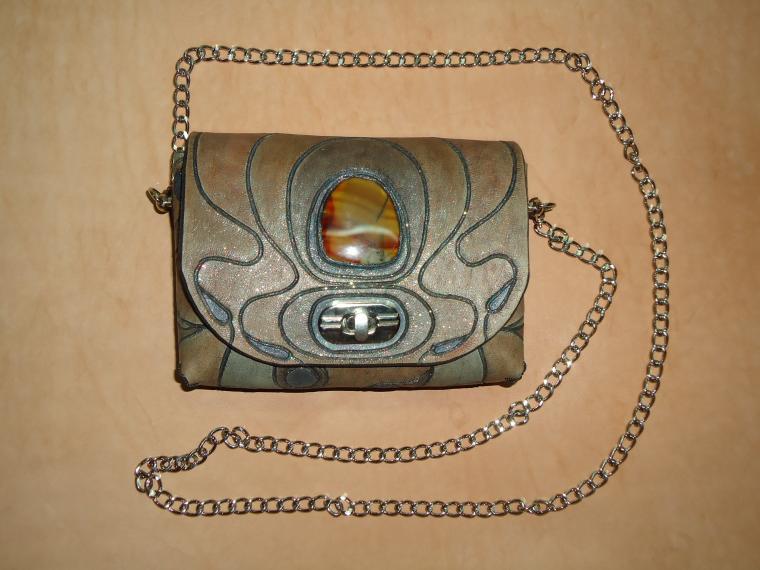 авторская ручная работа, сумка с декором, коричневый
