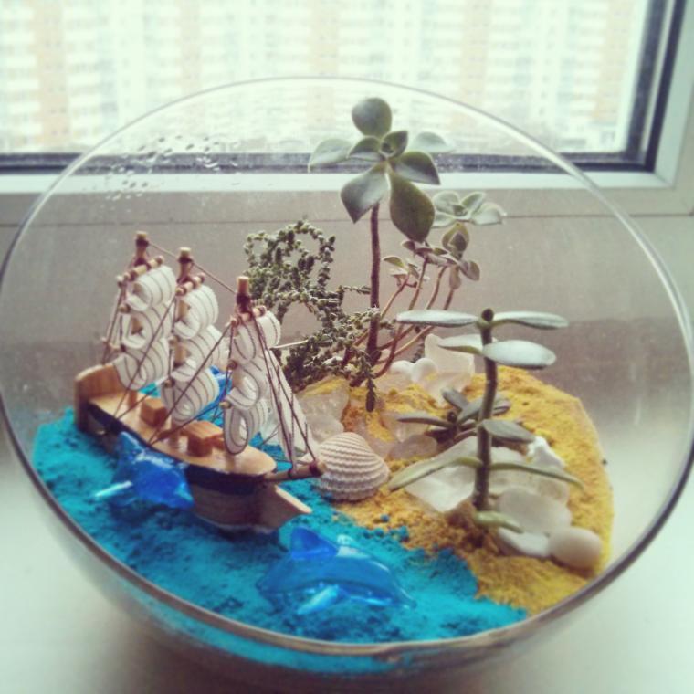 минисад, растения, сад, подарок женщине, флористика, стекло
