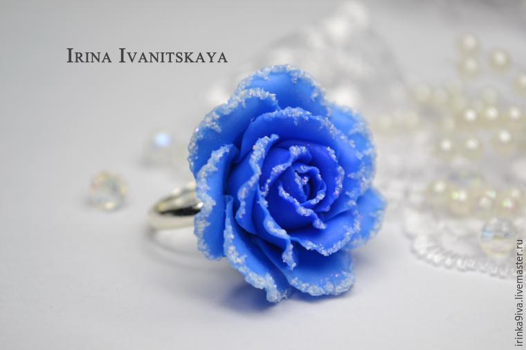 пластика, фимо, мастер-класс по лепке, лепка из пластики, лепка реалистичных цветов, урок, цветы из полимерной глины, роза, синяя роза, роза с инеем