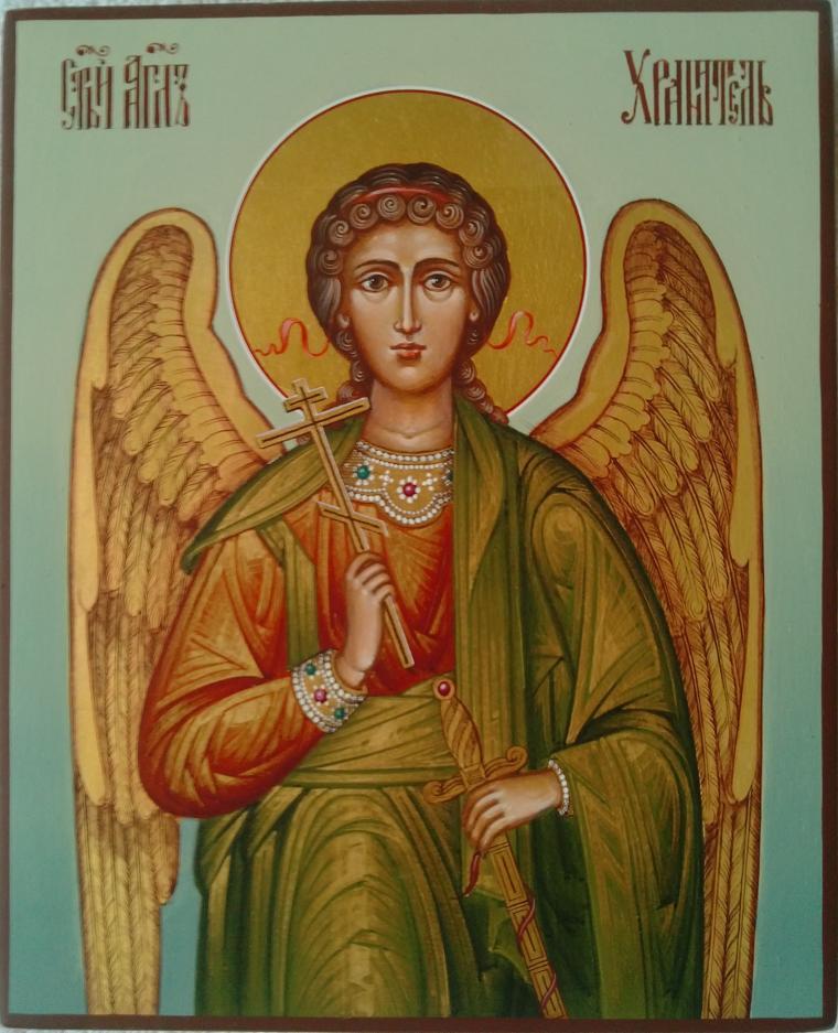 ангел, ангел-хранитель, покровитель, икона, икона в подарок, икона ручной работы, голубой, золотой, подарок на любой случай, золото, ангелок, ангелочек, ангелочки