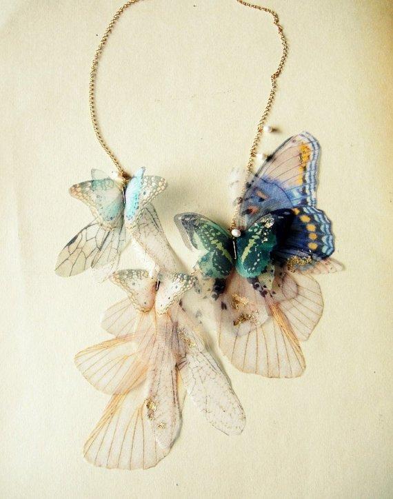 Fluttery Дыхание Жизни Ожерелье - позолотой Аква и Blue-