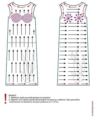 выкройка для валяния, шаблон платья, мокрое валяние, ukrasa