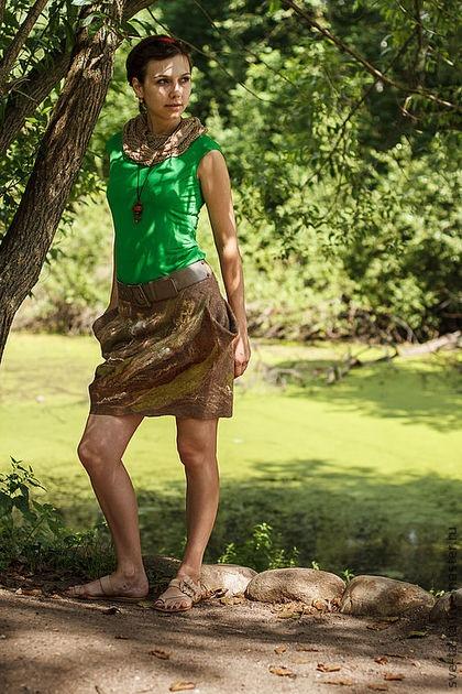 одежда из войлока, валяная юбка, авторский войлок