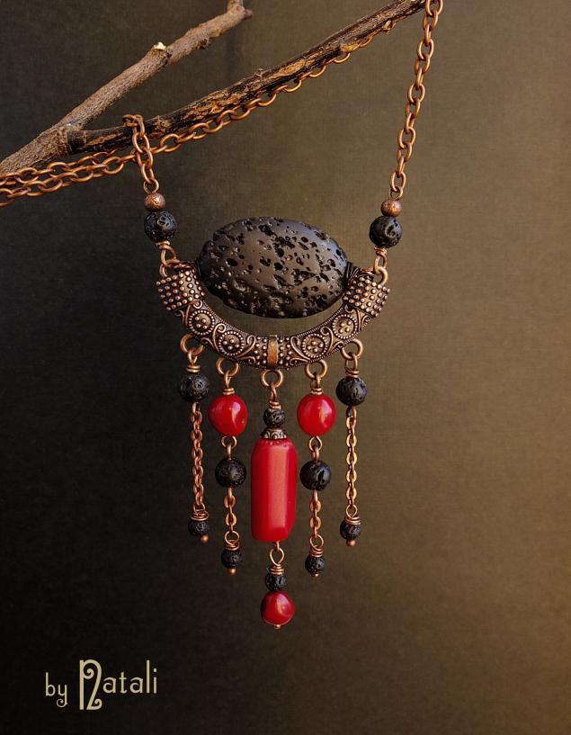 африканские украшения, лава, огненный, этнические украшения, красный