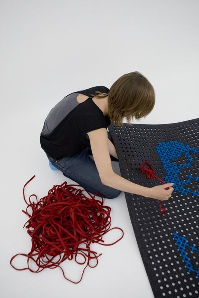 create your own rug design with cross stitch