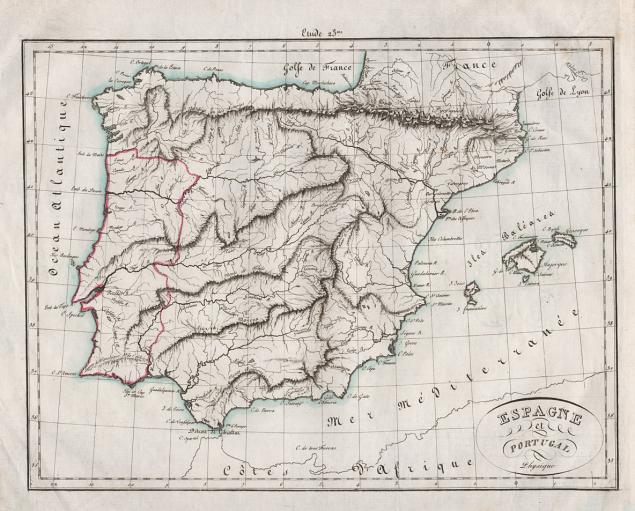 испания, карта, географическая карта, старинная