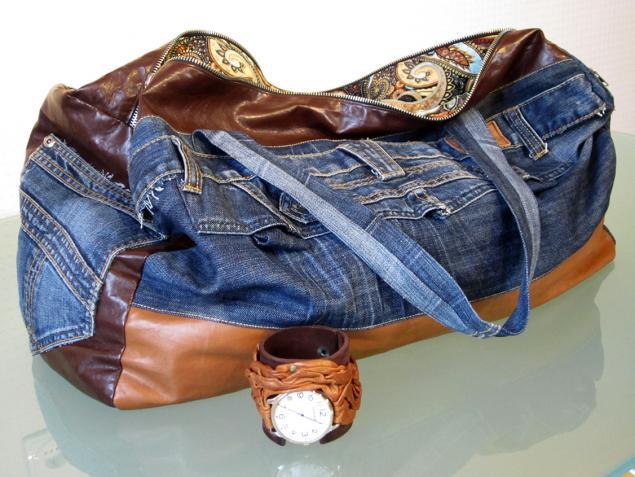 Дорожная сумка из джинс своими руками 78