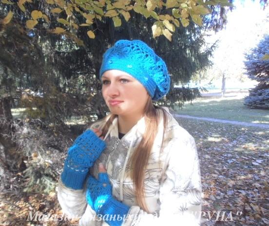 зимняя шапка и митенки