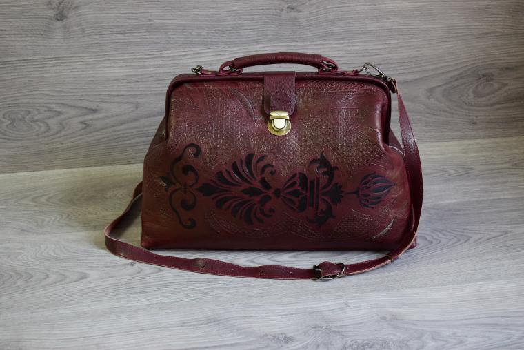 купить сумку, сумка-саквояж, бордовый