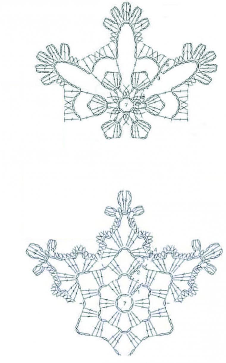 простая схема вязаной снежинки