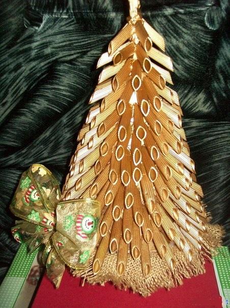 Как сделать большую елку из макарон