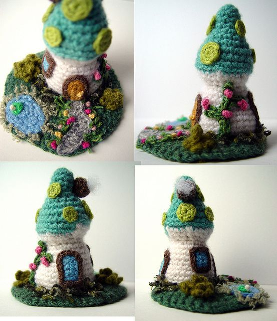Crochet Turquoise Mushroom House Miniature 2 by meekssandygirl, via Flickr