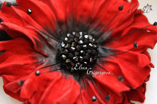 обучение цветам, авторские цветы, красный цветок, подарок женщине, елена григорьева цветы, обучение коже, обучение цветы, мастер-класс, мак кожаный, цветы своими руками