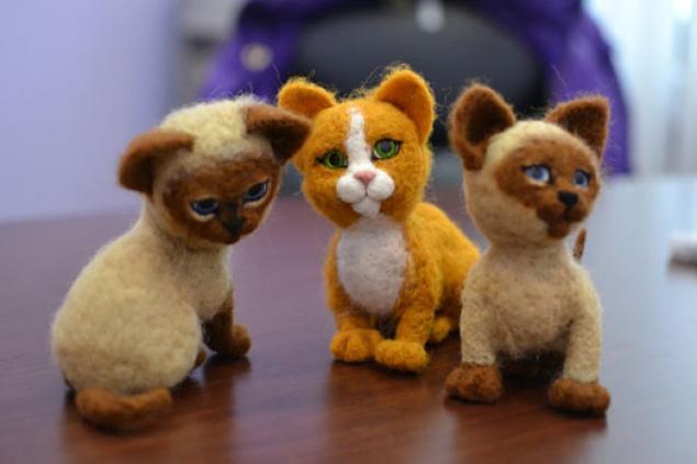 научиться валять, валяные игрушки, котёнок из шерсти, валяный мишка, валяние для начинающих, валяный котёнок, мастер-классы