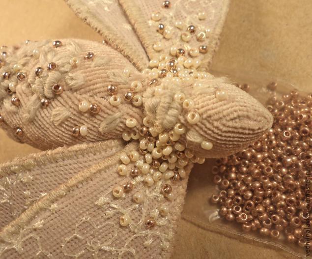 Текстильная брошь-мотылек, фото № 21