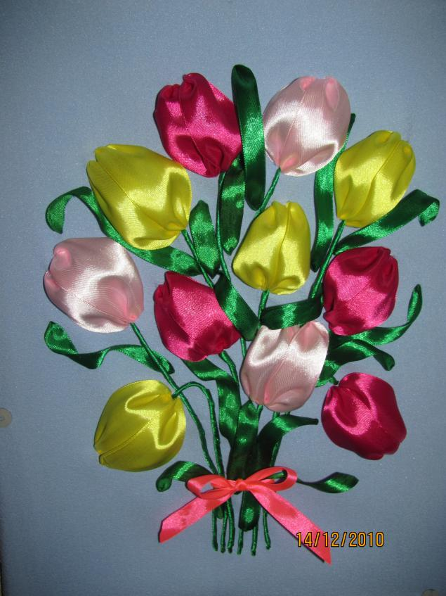 Вышивка лентами тюльпан мк