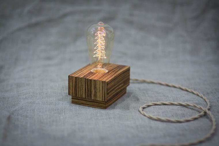 edison lamp, лампа из дерева