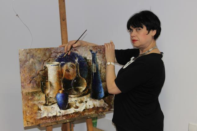 """Мастер класс живописи """"Бирюза"""" горизонталь синих бутылок - Ярмарка Мастеров - ручная работа, handmade"""