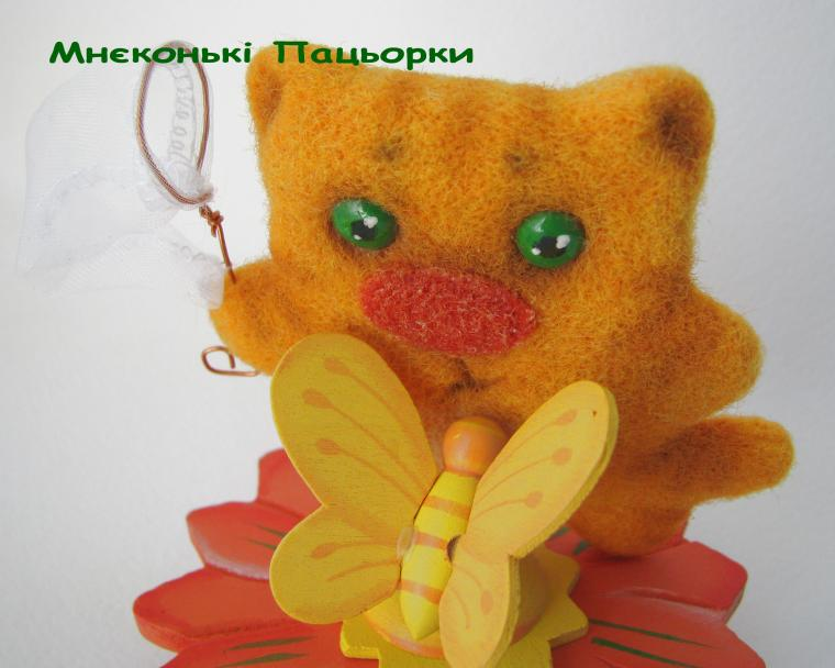 котенок, игручшки из шерсти