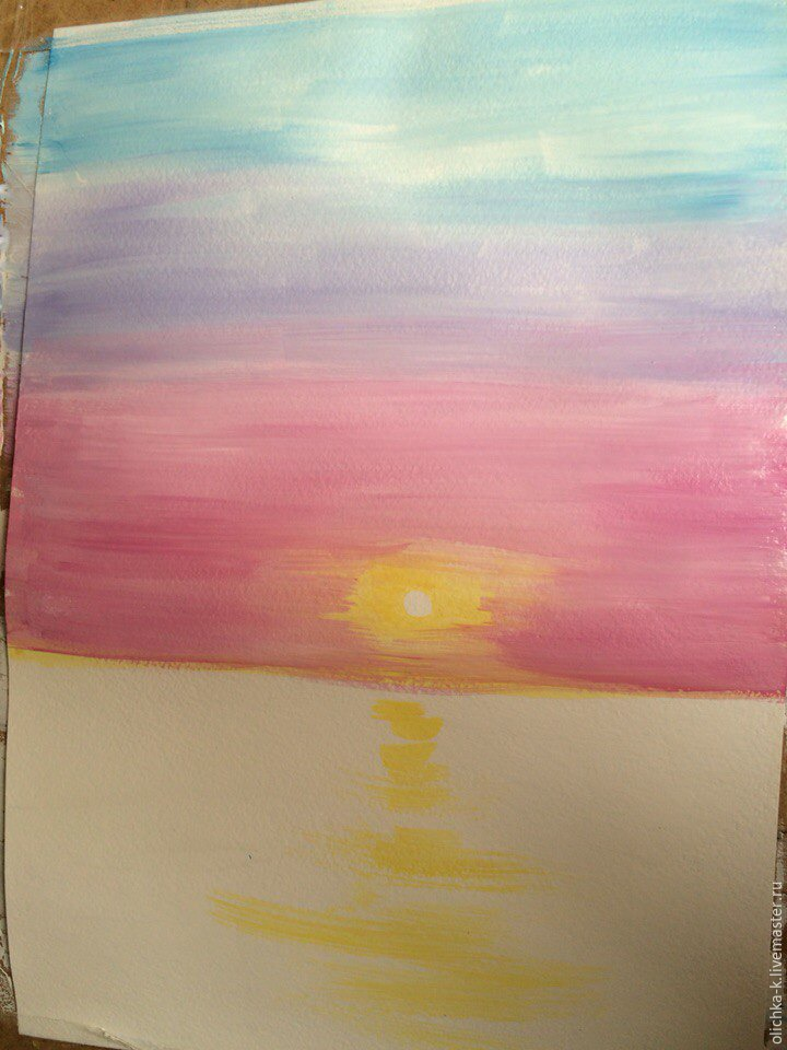 How to Paint a Sea Sunset with Gouache, фото № 2