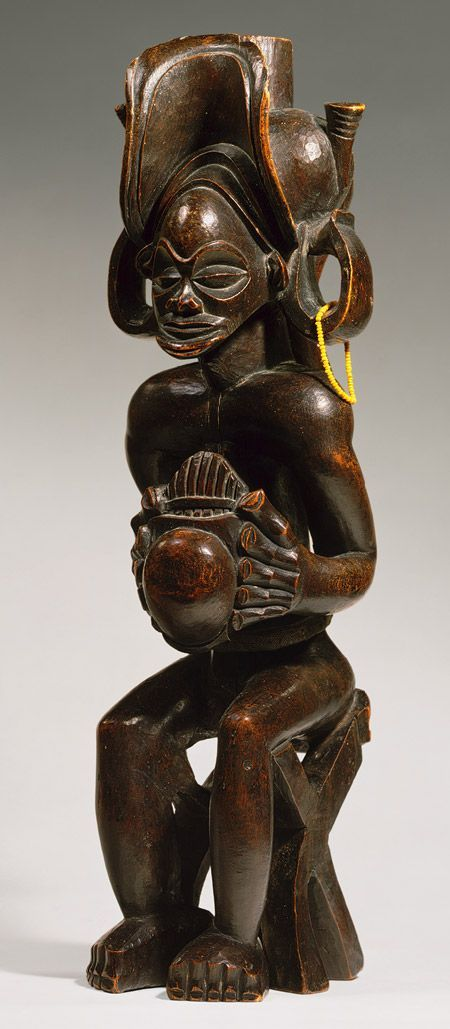 Africa | Figure depicting a chief ~ Mwanangara ~ from the Chokwe people of Angola | Wood, fiber, glass beads and cloth | ca. prior to 1869.