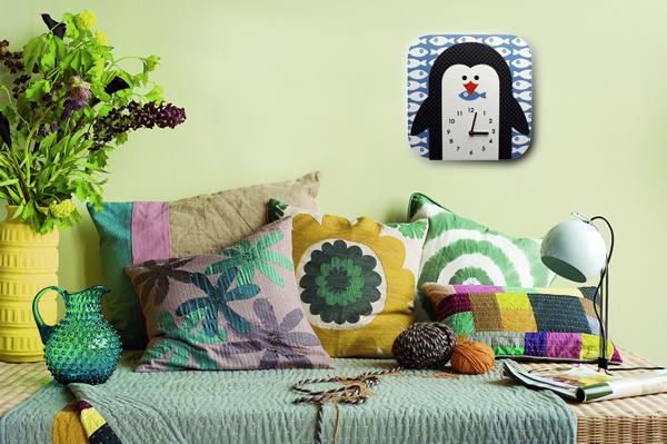 настенные часы, дизайнерские часы, дизайнерские вещи, пингвин, голубой, рыбка, часы в детскую