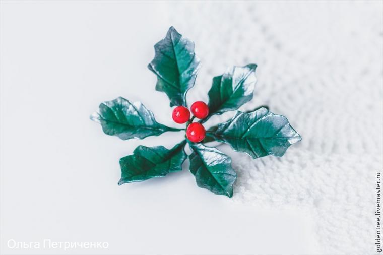 полимерная глина, брошь, брошь-цветок, брошь ручной работы, рождество