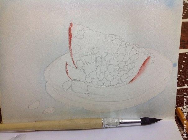 живопись акварелью, рисуем гранат