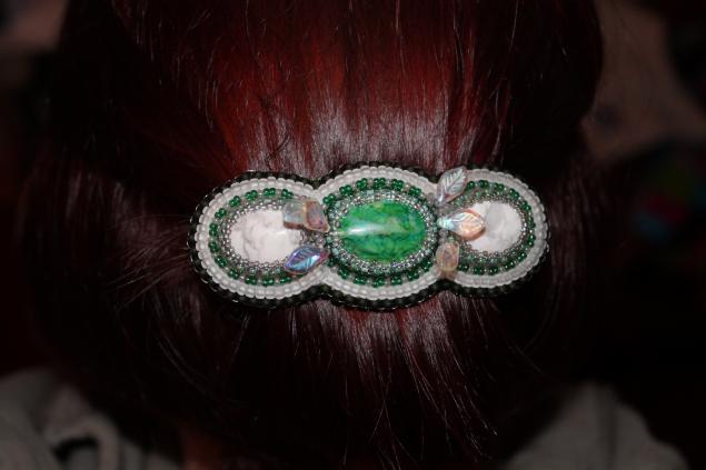 заколка для волос, заколка, новости магазина, камни, японский бисер, бисер, украшения ручной работы, украшения из бисера, украшение для волос