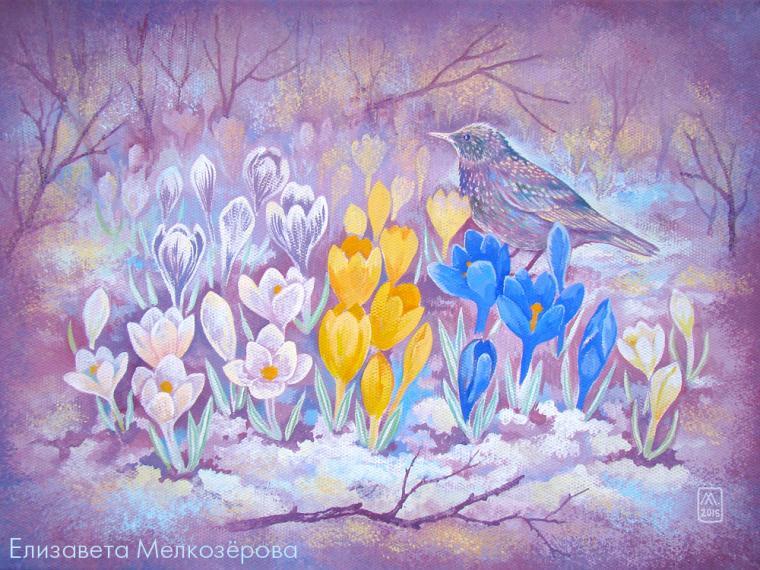 картина, картина на холсте, весенние цветы, картина с цветами
