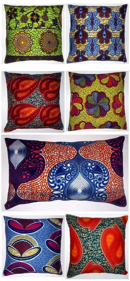 African textile pillows ~ Add colour to your home!  So beautiful!!