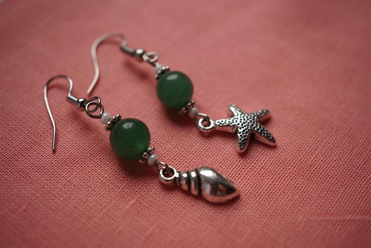 морской стиль, нефрит, морская звезда, браслет, зеленые серьги, пляж