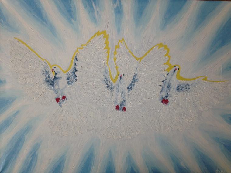 голуби, ангел, гармония, оберег, картина в подарок, картина для детской
