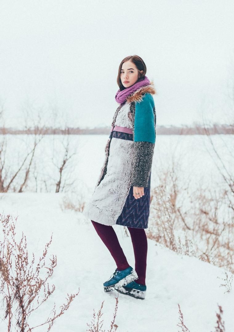 пальто с мехом, дизайнерская одежда
