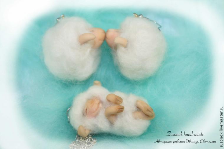серьги овечки, символ 2015 года, овцы из шерсти